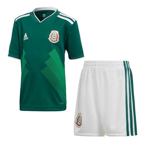 Conjunto Playera Con Short Futbol Mexico Niño adidas Bq4657
