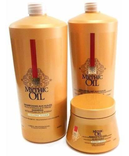 Loreal Mythic Oil Shampoo + Acondicionador + Mascara Gruesos