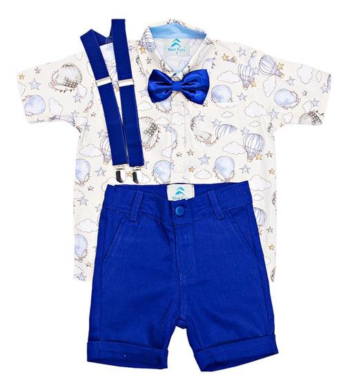 Roupas Infantil Bebe Menino Conjunto Masculino Blue Kids Collection Bermuda E Suspensório E Gravata