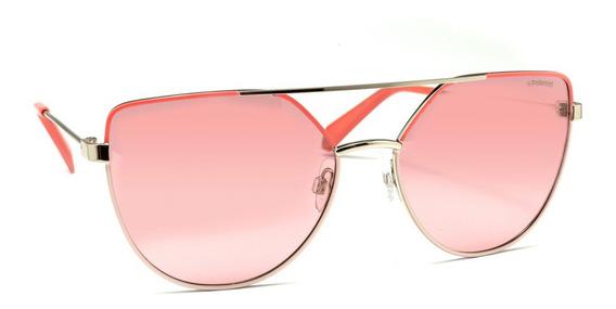 Óculos De Sol Polaroid Pld 6057/s Prata E Rosa