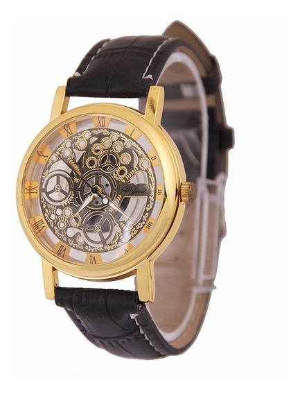 Relógio Masculino Feminino Esqueleto Luxo Pulseira Em Couro