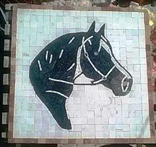 Tapete Mosaico Cabeza De Caballo En Marmol
