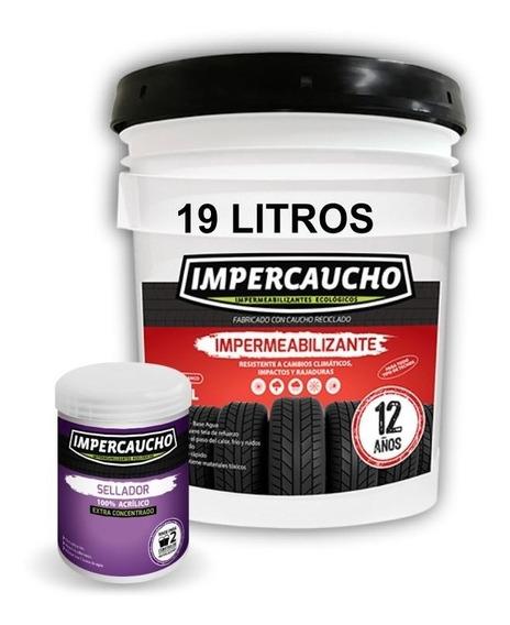 Impermeabilizante Impercaucho Blanco 1 Cubeta 19 + Sellador