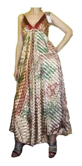 Vestido Hindú Largo Seda Elegante Importado India Chic Xl