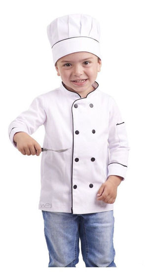 Uniforme De Cozinheiro Infantil Dólmã E Chapéu Em Sarja