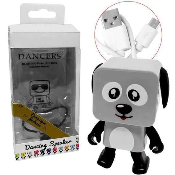 Caixa De Som Mini Cachorro Danca Bluetooth Branco