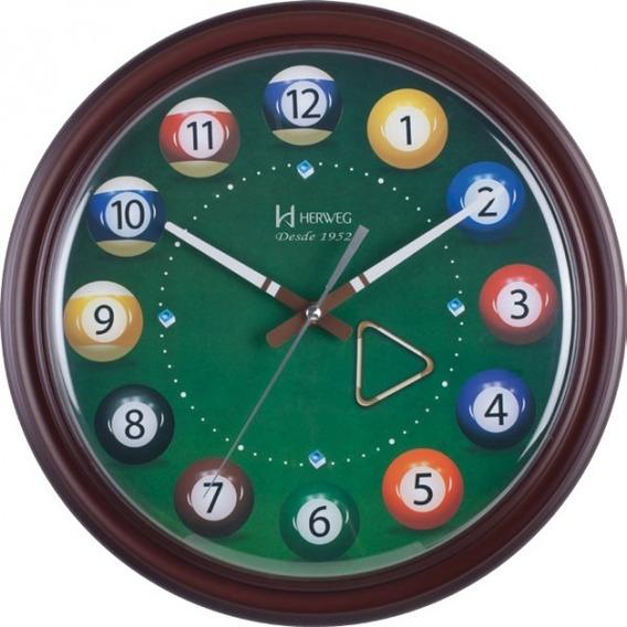 Relógio De Parede Sinuca Bilhar Herweg 6469 Original Com Nfe