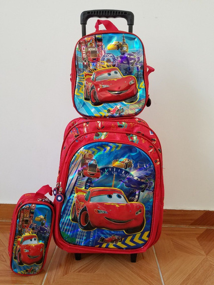 Kit Mochila Infantil Carros Mcqueen Rodinhas 3d