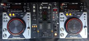 Par De Cdj-400 + Mixer Djm-400 De 2 Canais Pioneer + Case