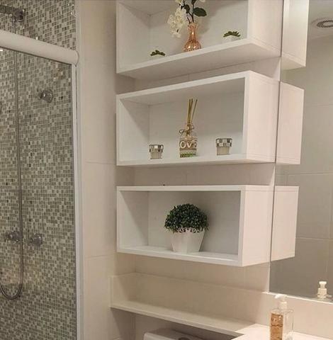 Nicho Para Banheiro Mdf Branco 050 X 025 X 012