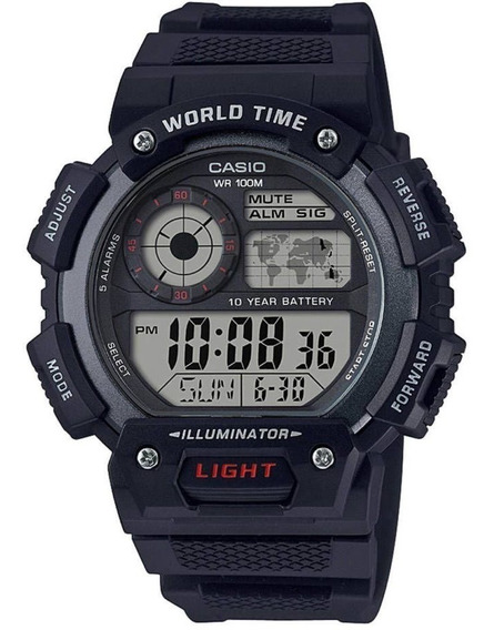 Relogio Casio World Time Ae1400wh-1a Grafite Original