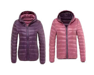Campera Pluma Mujer Inflable Con Capucha Reversible