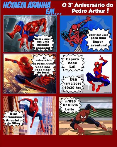 Imagem 1 de 7 de Arte Convite Digital Gibi Homem Aranha Personalizado