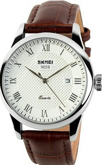 Relógio Skmei 9058 Masculino Luxo B Prat Cast Pulseira Couro