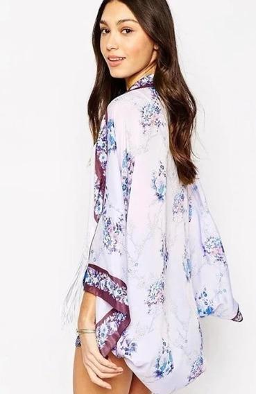 Blusa Kimono Camisa Cardigan Bata Feminina Floral Oriental