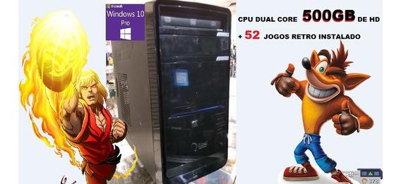 Cpu Dual Core 500gb+2gbddr3+52 Jogos Retro Instalado