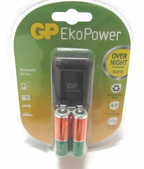 Cargador Gp Con 2 Baterias Aa Recargables 3vrdsefec