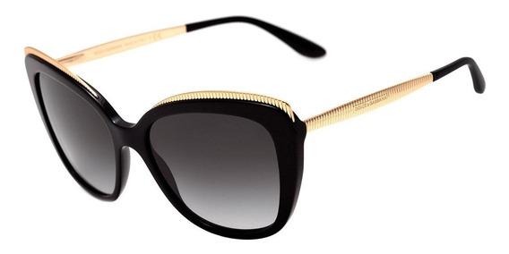Dolce & Gabbana Dg 4332 - Óculos De Sol 501/8g Preto E Doura