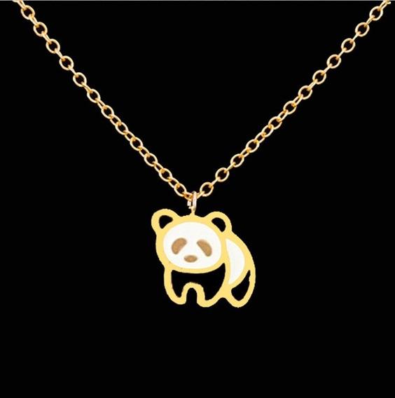 Urso Panda Corrente Dourado Com 25cm + Pingente De 2,5cm Pandinha Charme Presente Dia Dos Namorados Natal Ano Novo Festa