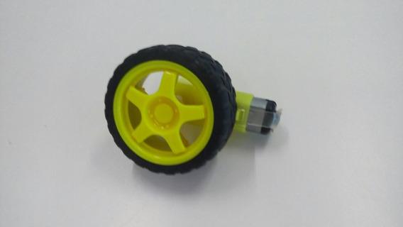Roda + Pneu + Motor Dc 3 A 6v Com Redução Robotica Arduin