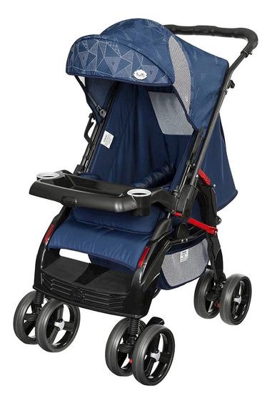 Carrinho De Passeio Berço Bebê Azul Menino Seguro Tutti Baby