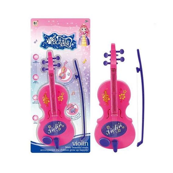 Mini Violino Infantil Eletronico Com 4 Cordas E Arco Com Luz