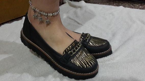 Zapato Tipo Mocasín Negro C/ Dorado Luna Chiara Número 36