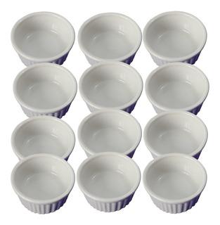 12 Ramekin Canelado Porcelana Para Buffet 140 Ml Ref 286