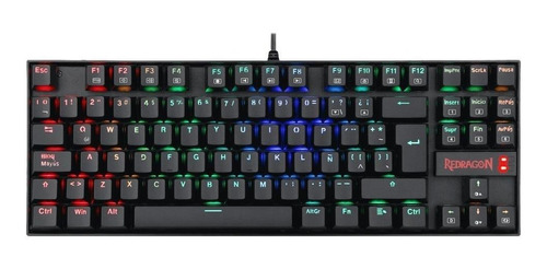 Teclado gamer Redragon Kumara K552 QWERTY Outemu Blue español latinoamérica color negro con luz RGB
