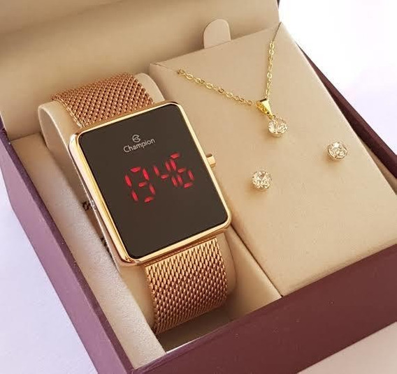 Relógio Champion Feminino Prata Dourado Com Semi Jóias
