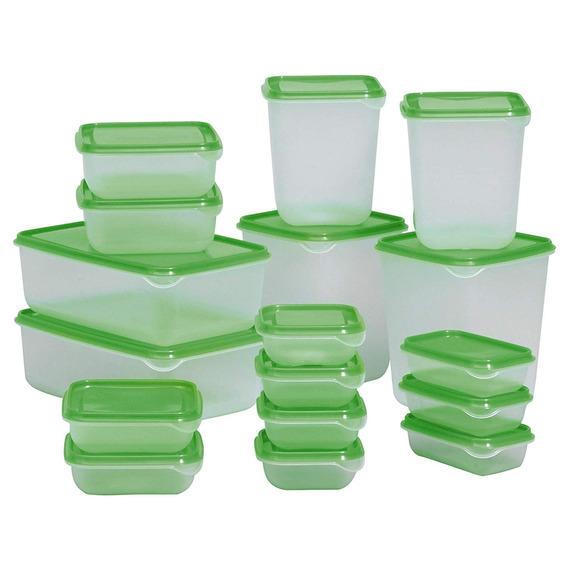 Pruta Food Container 601.496.73, Set De 17, Verde