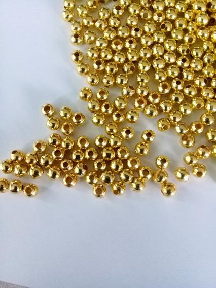 Bola Lisa De Metal Color Dorado 4mm