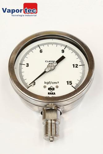 Manômetro Reto Inox 4  0 A 15 Kgf/cm² 1/2