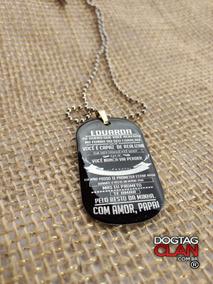 Dog Tag Placa Plaqueta Preto Carbono Mensagem Pai Para Filh