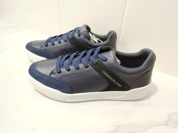 Sapatênis Couro Calvin Klein Jeans Azul-original
