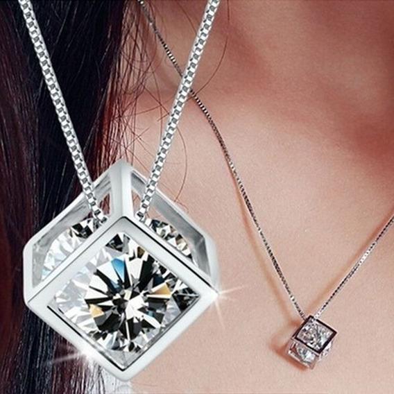 Collar Cuadrado Colgante Con Piedra Imitacion Diamante