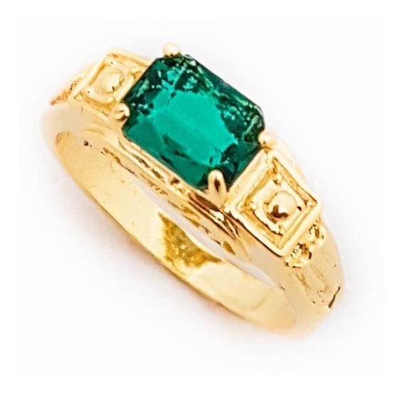 Anel Masculino Verde Esmeralda Formatura Banhado A Ouro 18k