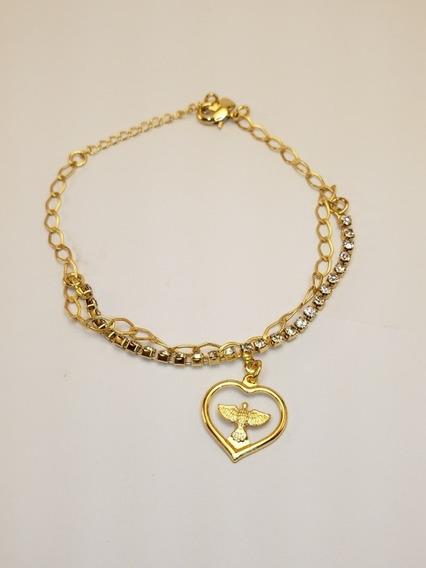 Pulseira Feminina Coração Paz Banhada Em Ouro 18k