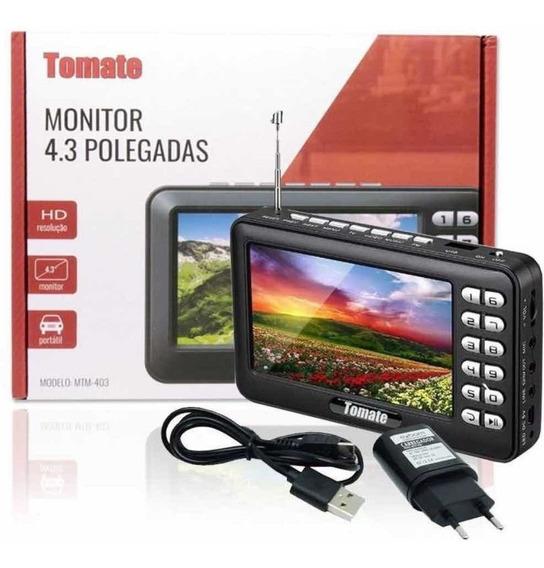 Tv Digital Portátil Hd 4.3 /usb /sd /rádio Recarregável Orig