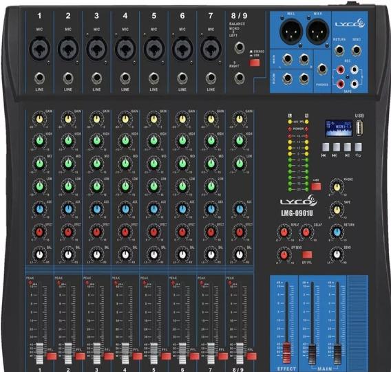 Mesa De Som 09 Canais Lyco Lmg 0901u C/ Usb Play/efeito/ph