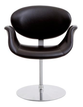 Cadeira Tulipa Base Disco Couro Ecológico