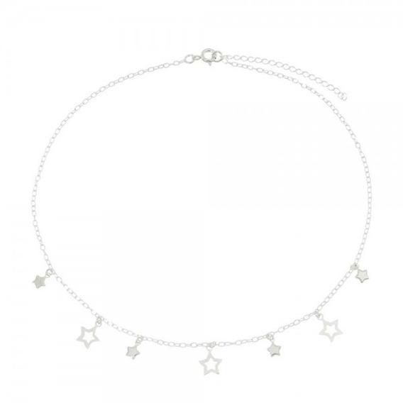 Gargantilha Colar Chocker Estrelas Em Prata 925 Com Extensor