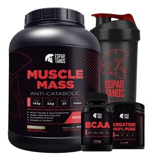 Muscle Mass 3kg + Bcaa + Creatina + Shaker - Espartanos