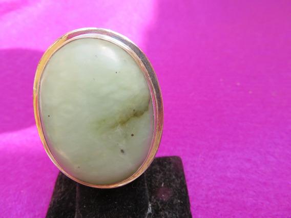 Anillo De Jade Ajustable De Plata .925 Grande Jade