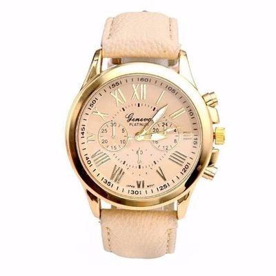 Relógio Dourado Pulseira Bege Geneva Rg001f Promoção!!!