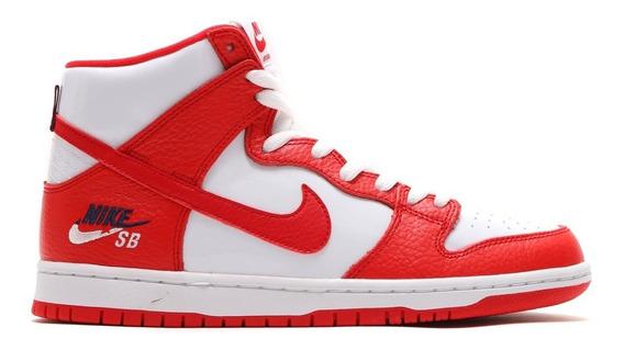 Nike Sb Dunk High Pro Botita Cuero Rojo Blanco Hombre Mujer