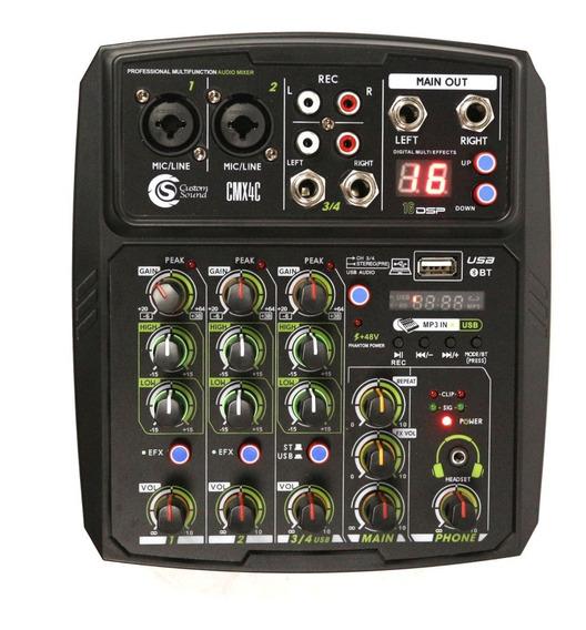 Mesa Mixer De Som Custom Sound 4 Canais Usb Nf-e