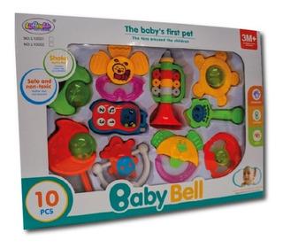 Set De Sonajeros P/ Bebés En Caja X 10 Unidades