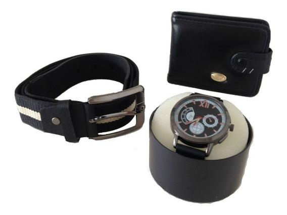 Relógio Masculino + Carteira Couro Sintético + Cinto Kit