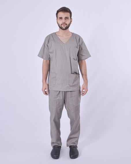 Conjunto Pijama Cirúrgico Masculino Brim Leve Cinza